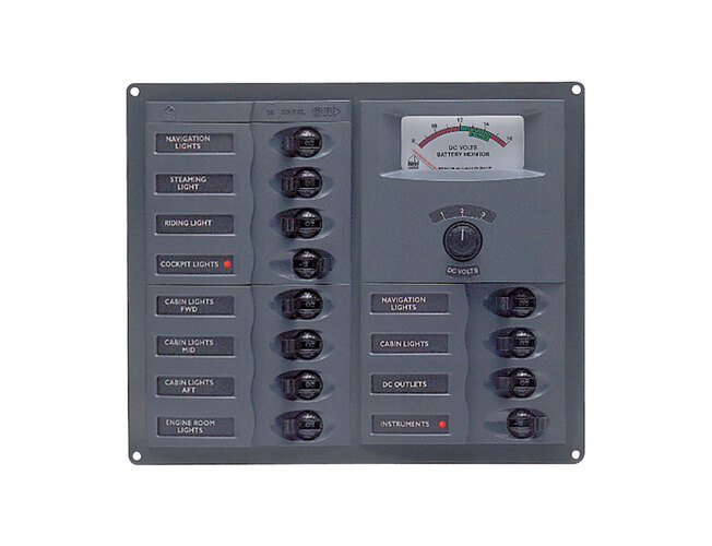 BEP Switch Panel 12Cb Square 12V Analog