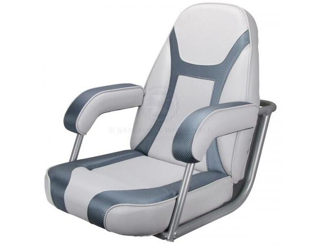 RELAXN Bluewater Series High Back Boat Seat - White/Grey Carbon